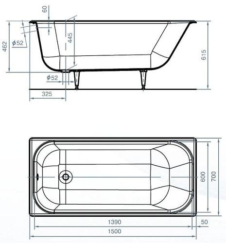 высота и ширина ванной чаши