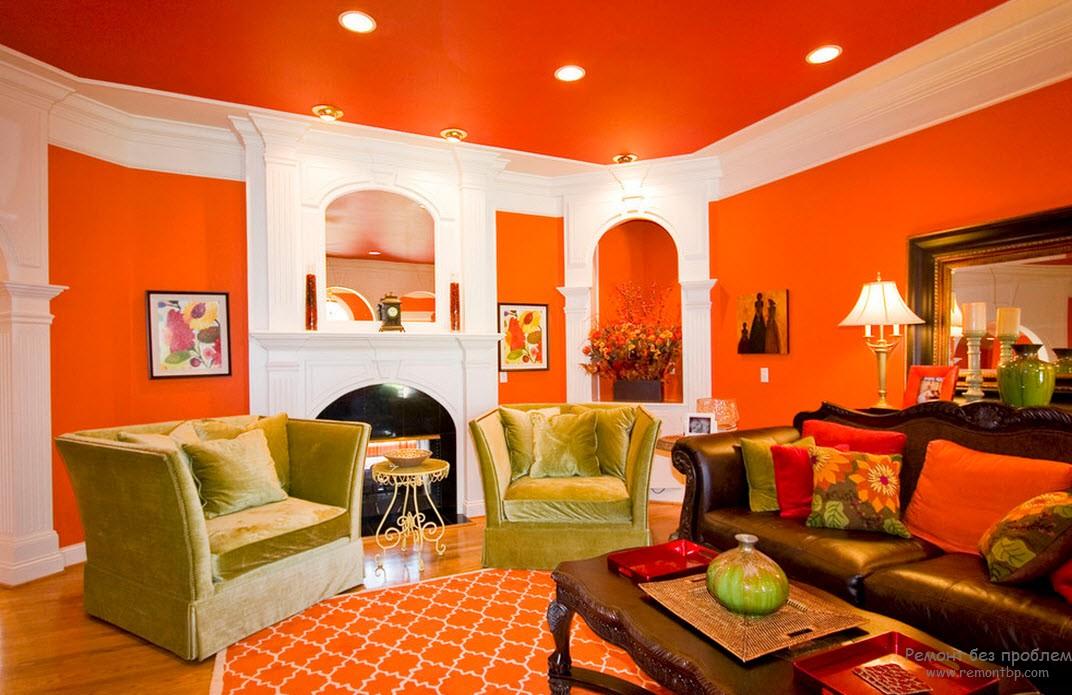 Апельсиновый цвет в интереьере