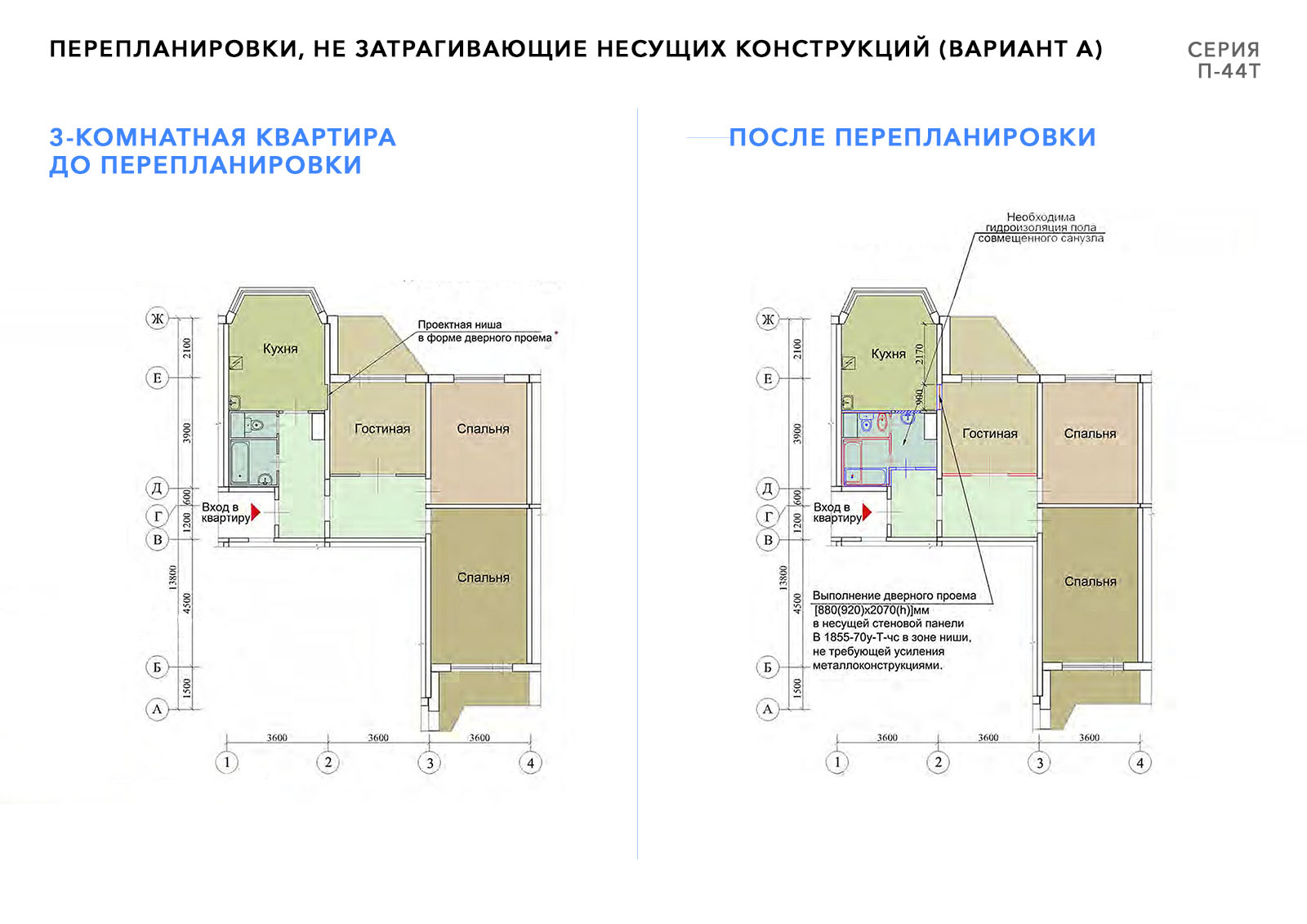 переплаировка 3х комнатной квартиры