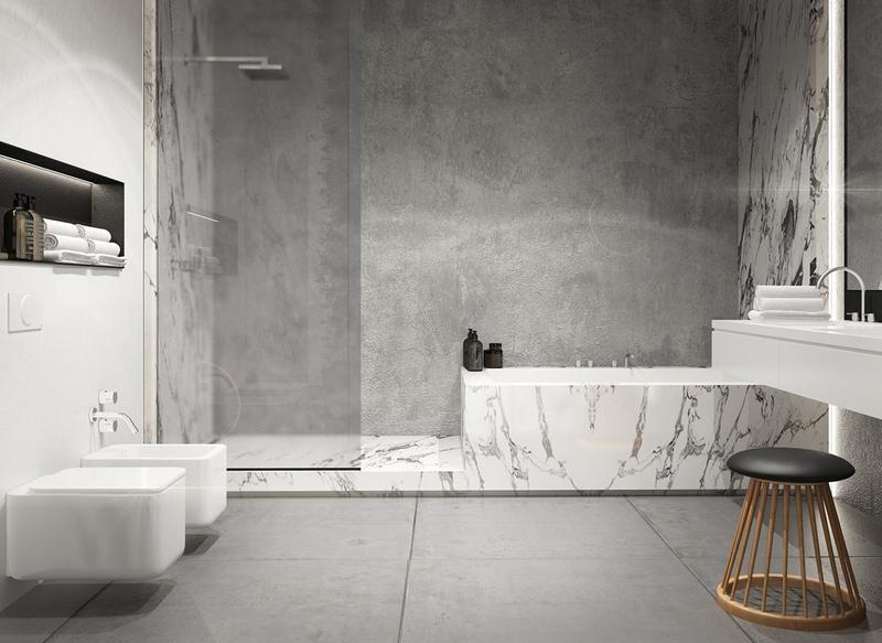 отделка ванной из бетона