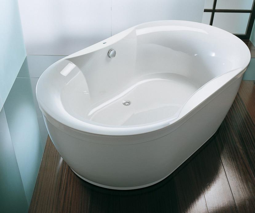 установка в ванной середине помещения