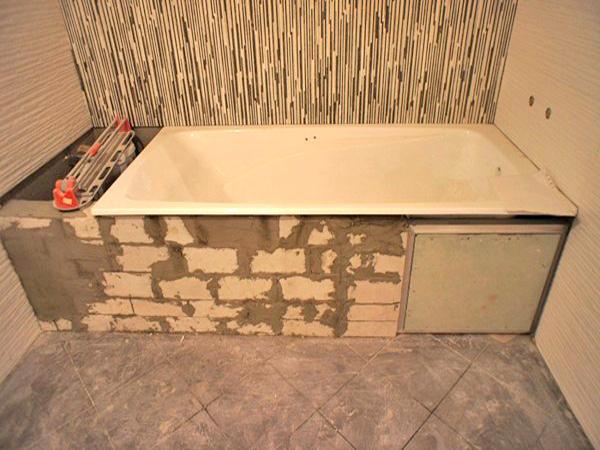 материалы для установки ванной на кирпичи