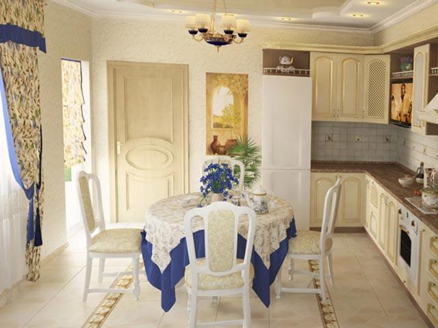 текстиль в кухне в стиле кантри