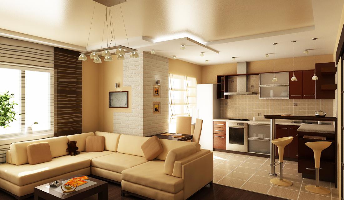 маленькая кухня и гостинная