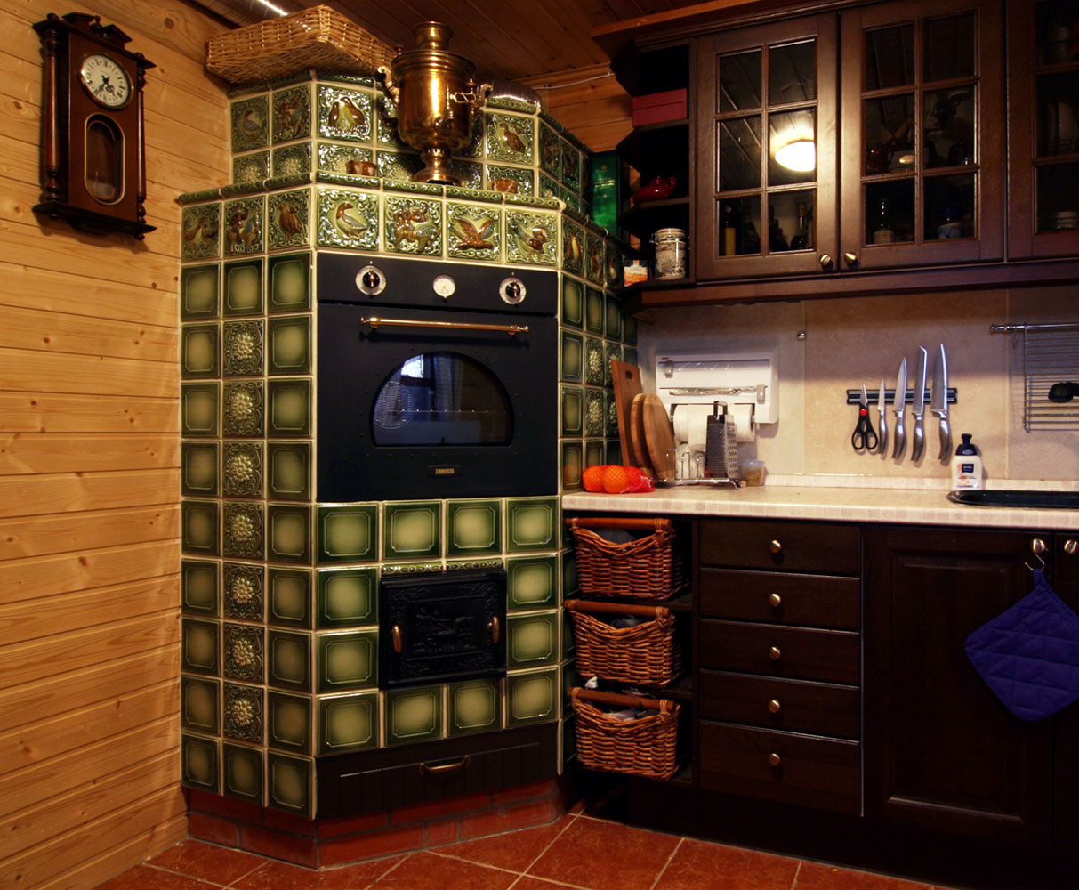 печь в современной квартире