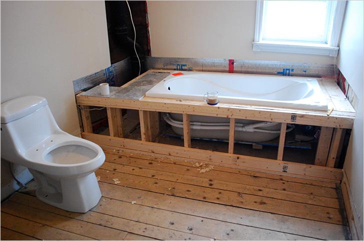 установка акриловой ванны на деревянный каркас