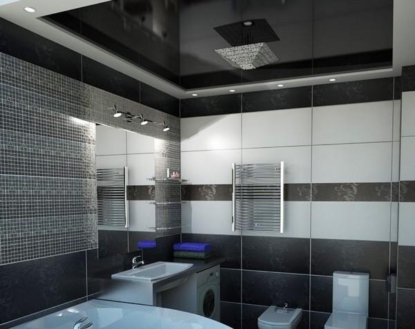 Натяжной потолок в ванной1