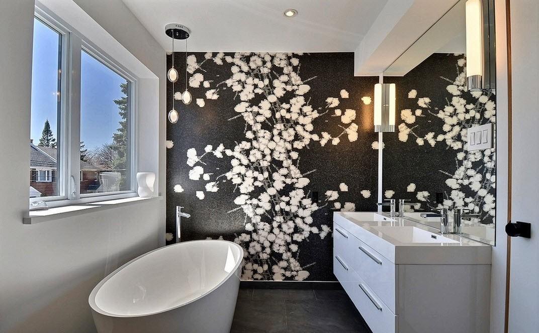 Зонирование плиткой в ванной