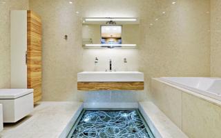 Варианты отделки ванной без использования плитки
